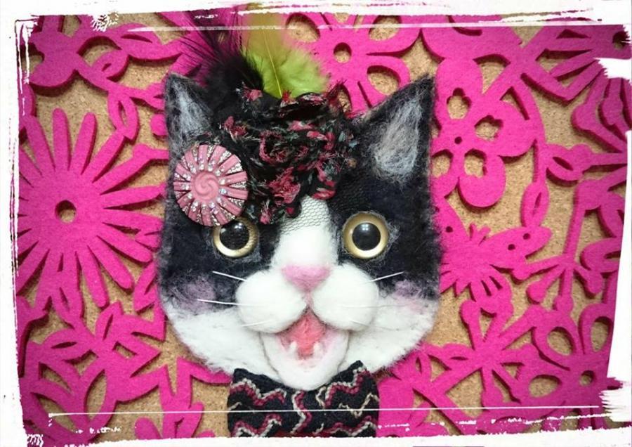 羊毛フェルトで作るお洒落な猫のパスケースワークショップ